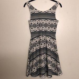 Black and white printed skater dress